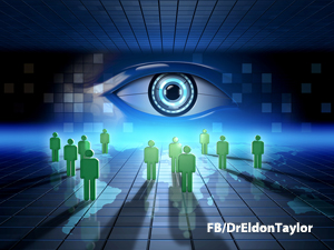 Monitoring people's online activity. Digital illustration.