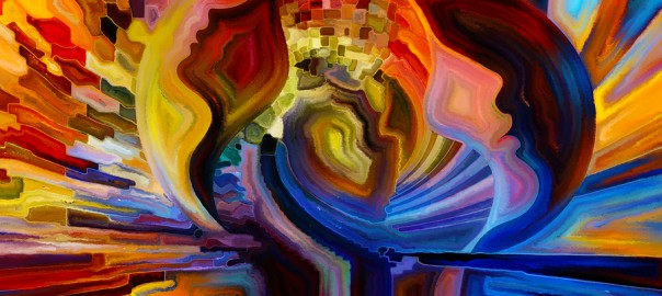 Colors of the Mind series. Composition of elements of human face and colorful abstract shapes to serve as a supporting backdrop for projects on mind reason thought emotion and spirituality