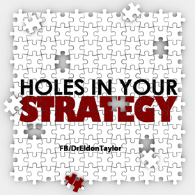 Holes in Your Strategy words on a puzzle with pieces missing to