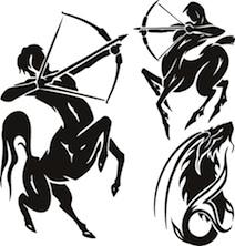 Zodiac Signs - sagittarius. Vector set.